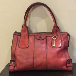 RARE BURNISHED RED FOSSIL BAG VINTAGE REISSUE
